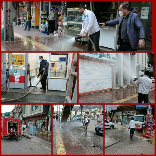 ادامه ضدعفونی اماکن عمومی رودبار توسط شهرداری و شورای شهر